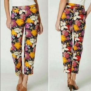 Anthropologie Elevenses Floral Cropped Pants Sz 6